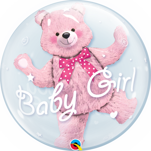 Double Bubble ballong, baby pink bear